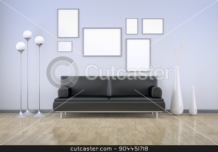 blue room with a sofa stock photo, A blue room with a sofa and background for your own content by Markus Gann