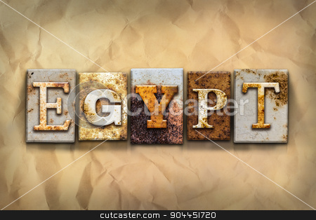 Egypt Concept Rusted Metal Type stock photo, The word