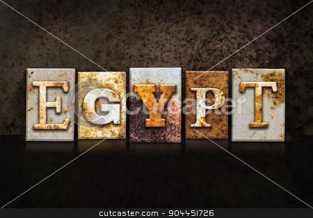 Egypt Letterpress Concept on Dark Background stock photo, The word