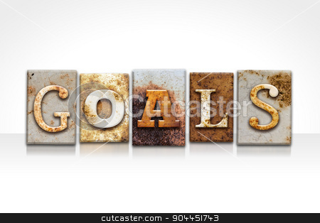 Goals Letterpress Concept Isolated on White stock photo, The word