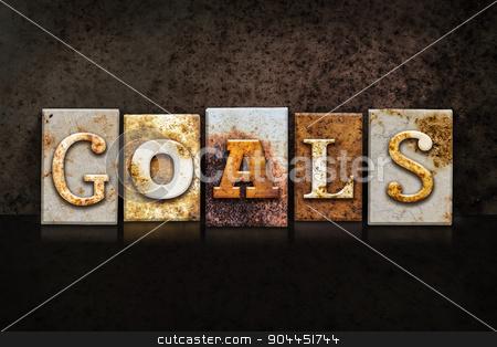 Goals Letterpress Concept on Dark Background stock photo, The word