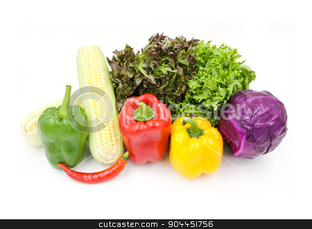 Vegetables isolated on white background. stock photo, Vegetables isolated on white background. by doraclub