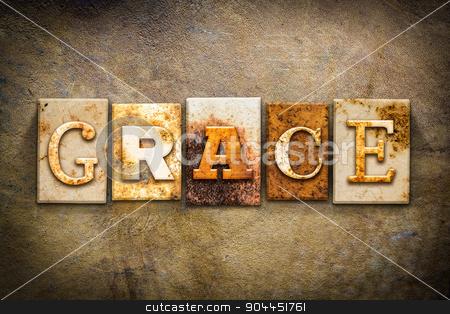 Grace Concept Letterpress Leather Theme stock photo, The word
