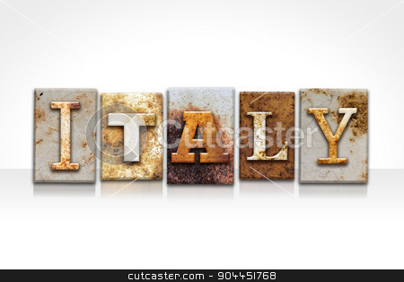 Italy Letterpress Concept Isolated on White stock photo, The word