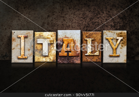 Italy Letterpress Concept on Dark Background stock photo, The word