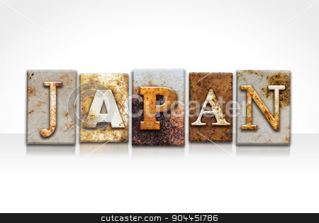 Japan Letterpress Concept Isolated on White stock photo, The word