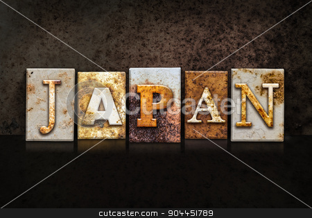 Japan Letterpress Concept on Dark Background stock photo, The word