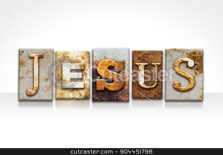 Jesus Letterpress Concept Isolated on White stock photo, The name