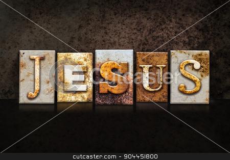 Jesus Letterpress Concept on Dark Background stock photo, The name