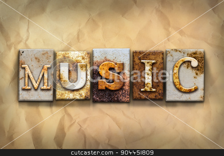 Music Concept Rusted Metal Type stock photo, The word