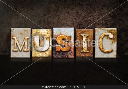 Music Letterpress Concept on Dark Background stock photo, The word