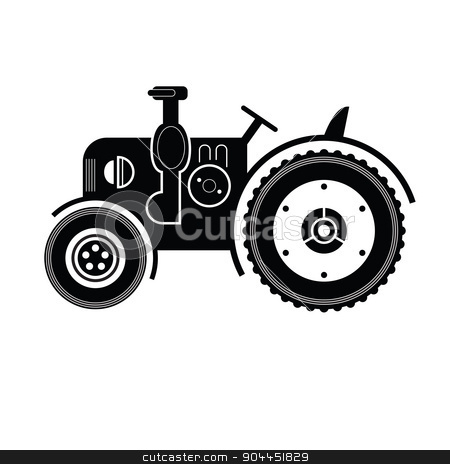 Black tractor icon stock vector clipart, Black tractor icon on white. Stylish lineart illustration by lkeskinen