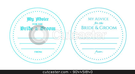 Wedding card stock vector clipart, Advice for the bride and groom wedding card. Circle card is used to print and write wishes for young couple. by lkeskinen