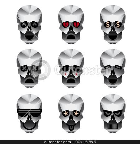 Happy skull emotion icons set stock vector clipart, Happy skull emoticons. Nine icons portraying different emotions of usually happy skull. by lkeskinen