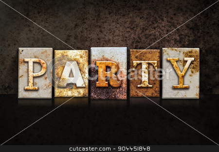 Party Letterpress Concept on Dark Background stock photo, The word