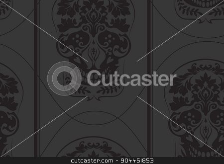 Black leafs skull damask pattern stock vector clipart, Black leafs skull damask pattern. Dark colors. Good as background, wallpaper and paper wrap for Halloween or any other suitable occasion. Good wallpeper as is. by lkeskinen
