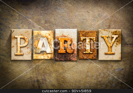 Party Concept Letterpress Leather Theme stock photo, The word