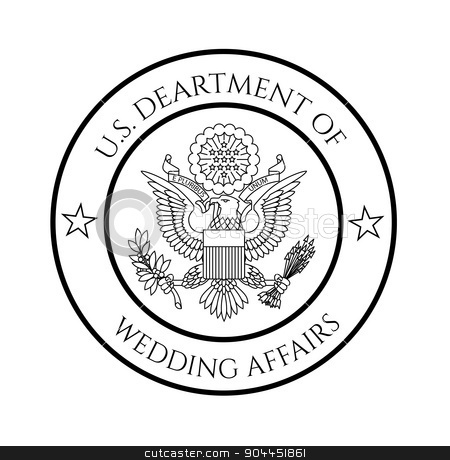 Wedding affairs fake seal stock vector clipart, Wedding affairs fake government seal. May be used for stylish wedding invitations and such. by lkeskinen