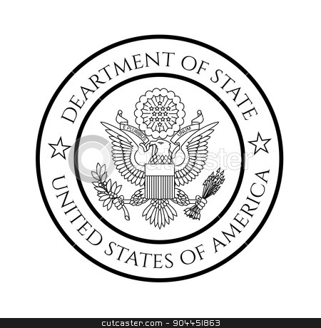 US department of state seal stock vector clipart, US department of state seal, black on white. by lkeskinen