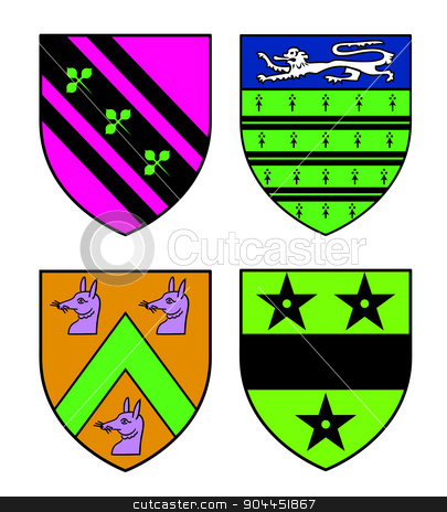 Authentic medieval heraldry shields  stock vector clipart, Authentic medieval heraldry shields from Britain. Exact copies of historic objects.Recolored in fresh bright colors. by lkeskinen