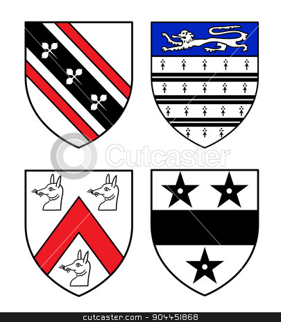 Authentic medieval heraldry shields  stock vector clipart, Authentic medieval heraldry shields from Britain. Exact copies of historic objects. by lkeskinen