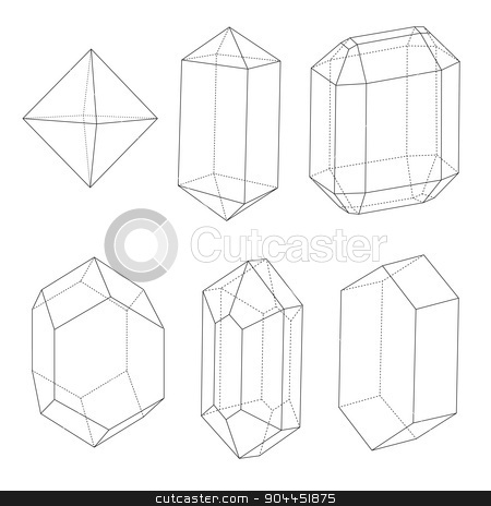 Precious stones outlines stock vector clipart, Precious stones outlines and back dotted lines. Good technical illustration or design element.  by lkeskinen