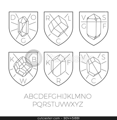 Heraldry icons with precious stones part 2 stock vector clipart, Heraldry icons with precious stones, hipster style. Typography included for custom design. Good for logos, badges, rubber stamps, etc. by lkeskinen