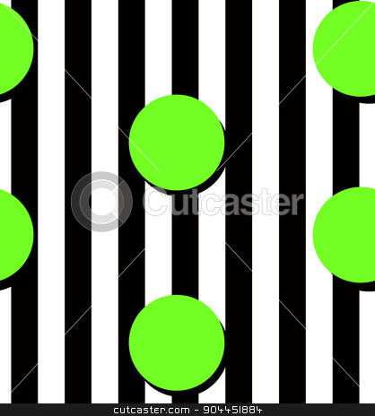 Modern stripes and circles pattern stock vector clipart, Modern black stripes and yellow circles seamless pattern. Modern fashion design. by lkeskinen