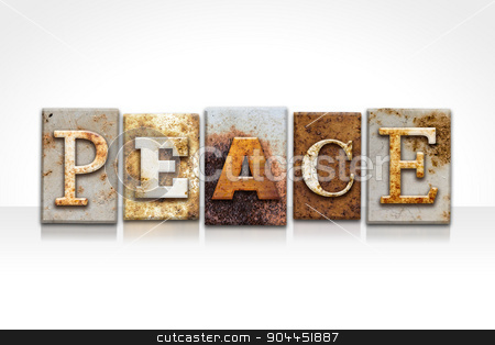 Peace Letterpress Concept Isolated on White stock photo, The word