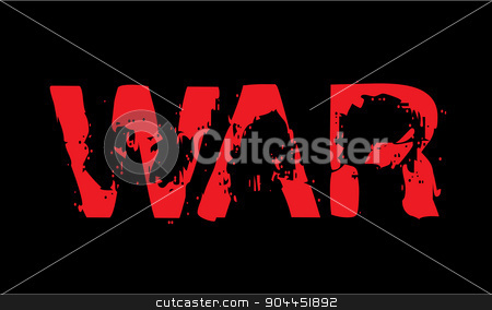 War caption stock vector clipart, War caption red on black. Dramatic distorted letters with sense of anxiety and trouble. by lkeskinen