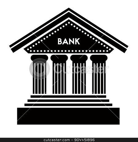 Bank icon stock vector clipart, Bank icon on white background. Classic architecture building with columns and steps of the front entrance. Bank letters caption placed above the entrance.  Easily editable EPS file. by lkeskinen