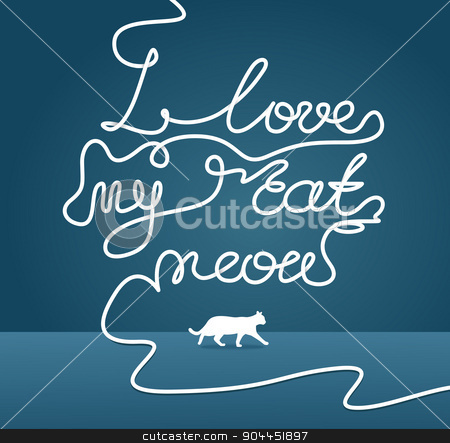 I love my cat meow caption stock vector clipart, I love my cat meow caption. White rope style weaving from above. With shading and cat itself walking from left to right. by lkeskinen