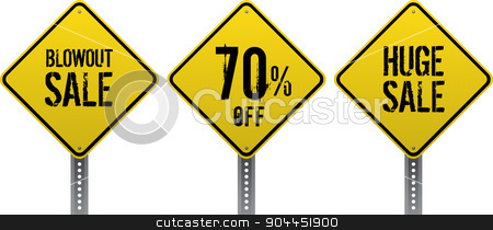 Sale traffic signs stock vector clipart, Sale and discount yellow diamond traffic signs. Neatly grouped to be used blank or with notice. Realistic signs and grungy text. by lkeskinen