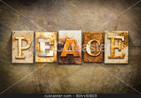 Peace Concept Letterpress Leather Theme stock photo, The word