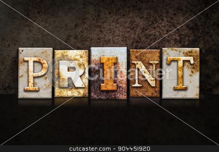 Print Letterpress Concept on Dark Background stock photo, The word