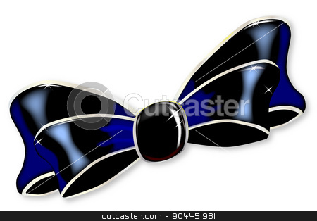Black Silk Bow stock vector clipart, A black silk ribbon bow isolated on white. by Kotto