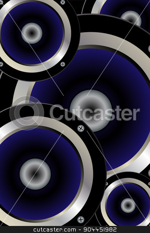 Music Speaker Background stock vector clipart, A collection of blue music speakers on a black background by Kotto
