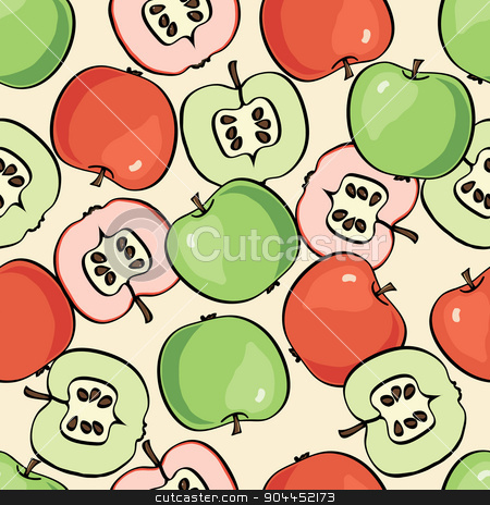 Fruit  pattern. Apple seamless background.  stock vector clipart, Fruit  pattern. Apple seamless background. Vector colorful background with apples by Aleksandra Serova