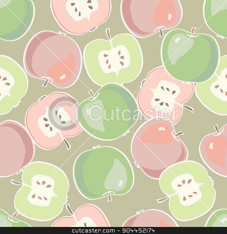 Fruit  pattern. Apple seamless background.  stock vector clipart, Fruit  pattern. Apple seamless background. Vector colorful background with apples by Aleksandra Serova