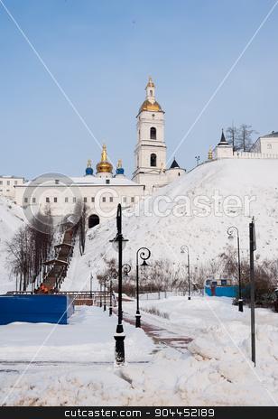 View of the Sofia vzvoz. Tobolsk Kremlin stock photo, Tobolsk Kremlin. View on Sofia vzvoz and the Rentereya. by Aikon