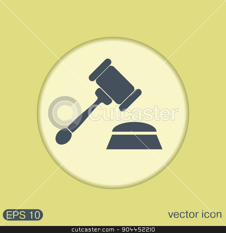 gavel. icon law. symbol of justice and judgment stock vector clipart, gavel. icon law. symbol of justice and judgment by LittleCuckoo