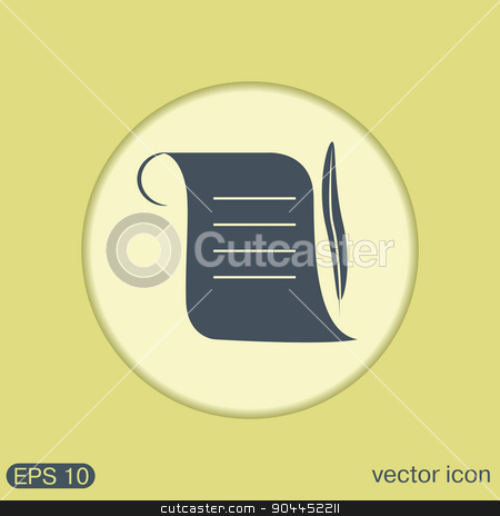 Ancient parchment sheet of paper and a quill to write icon stock vector clipart, Ancient parchment sheet of paper and a quill to write icon by LittleCuckoo