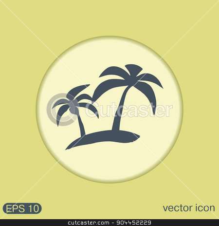 island icons. symbol of the island with palm trees. icon holiday stock vector clipart, island icons. symbol of the island with palm trees. icon holiday by LittleCuckoo