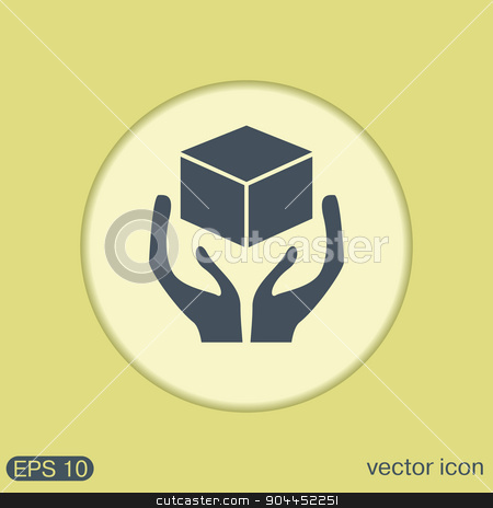 hands holding box logistic icon stock vector clipart, hands holding box logistic icon by LittleCuckoo