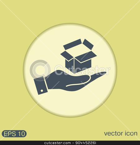 hand holding a Opened cardboard box stock vector clipart, hand holding a Opened cardboard box by LittleCuckoo