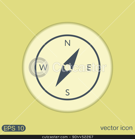compass, icon orienteering, traveling or camping in the woods stock vector clipart, compass sign. colored button, icon orienteering, traveling or camping in the woods by LittleCuckoo