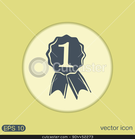 first place ribbon rosette icon. victory icon stock vector clipart, first place ribbon rosette icon. victory icon by LittleCuckoo