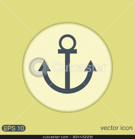Nautical Anchor vector. anchor seafaring character. icon marine instrument stock vector clipart, Nautical Anchor vector. anchor seafaring character. icon marine instrument by LittleCuckoo