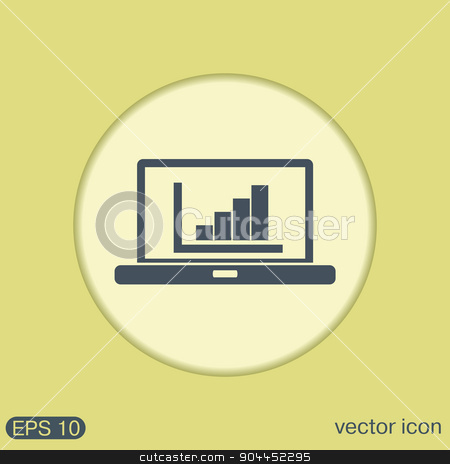 laptop with symbol diagram stock vector clipart, notebook with symbol diagram by LittleCuckoo