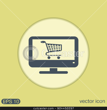 monitor with symbol shopping cart, icon online shopping stock vector clipart, monitor with symbol shopping cart, shopping in Internet-shop, icon online shopping by LittleCuckoo